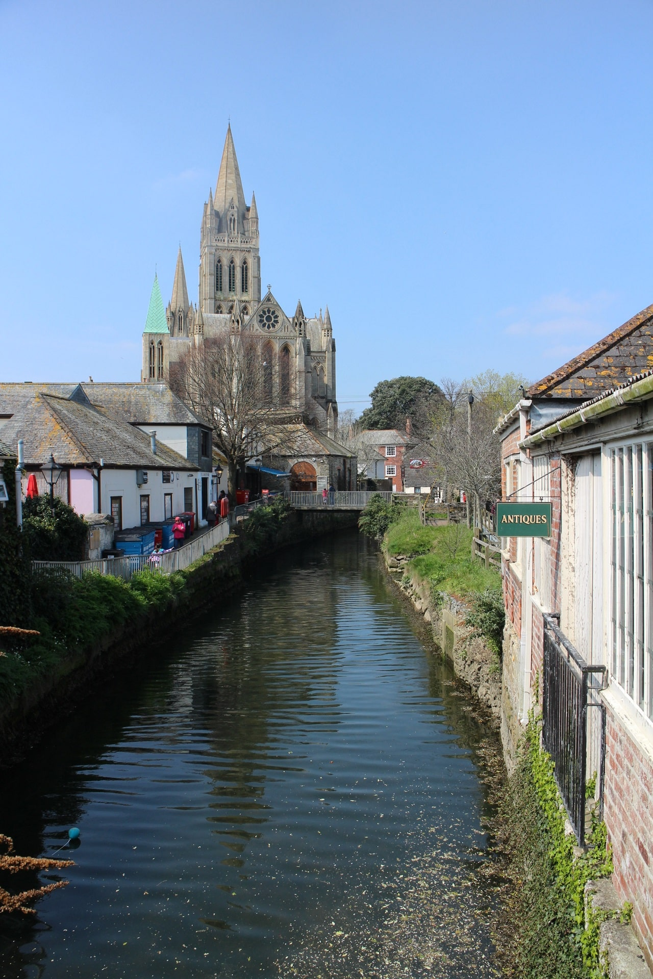 View along the river in Truro towards the cathedral